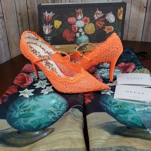 New GUCCI Virginia Lace Mary Jane Heels